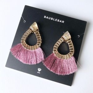 BaubleBar Gold Purple Tassel Teardrop Earrings